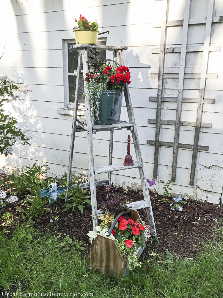 Upcycled Vintage Ladder - turned into cute garden planter stand
