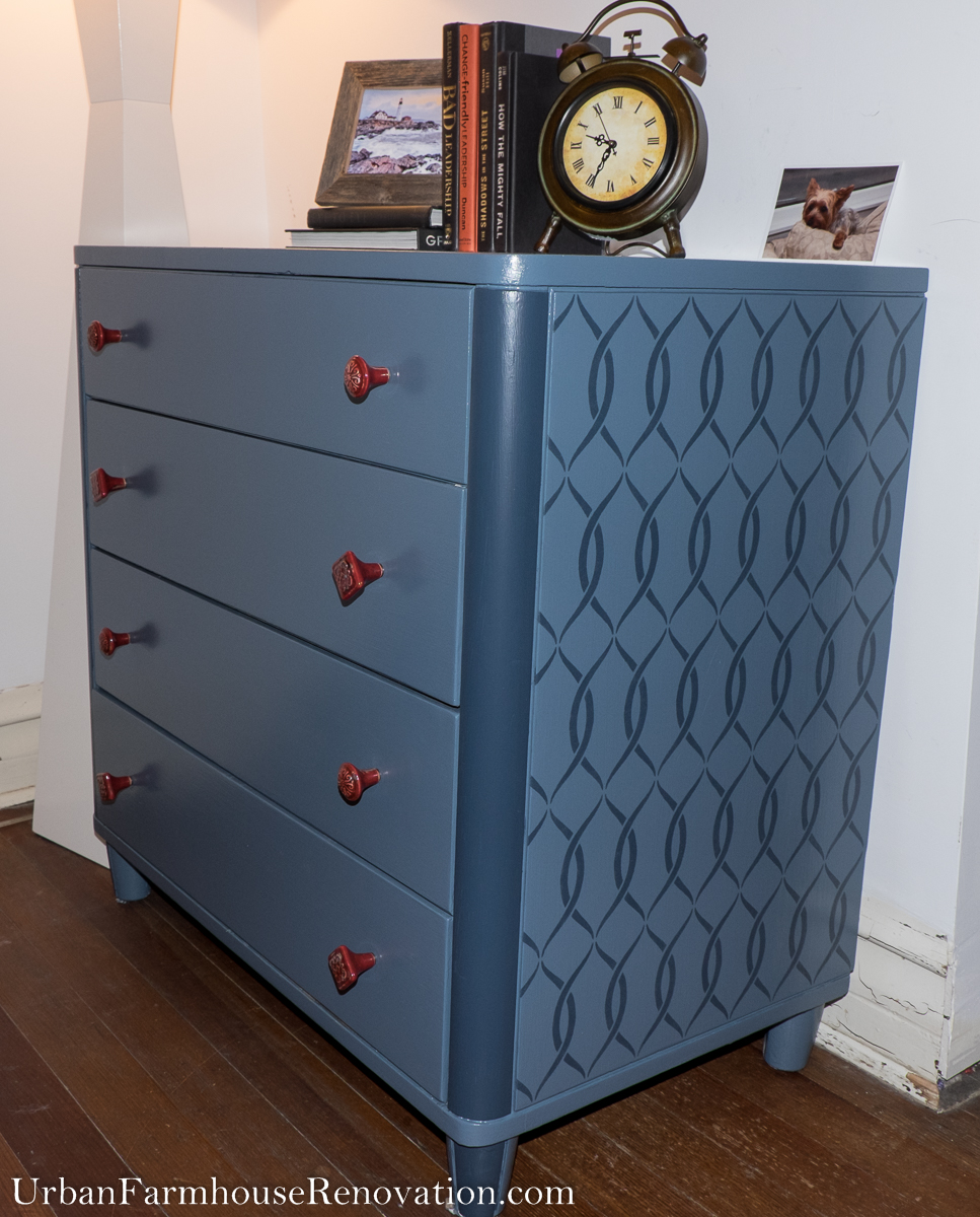 Upcycled Painted Dresser: The use of a stencil adds interest to this otherwise plain dresser.
